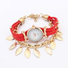 欧美时尚叶子手表(红色)
