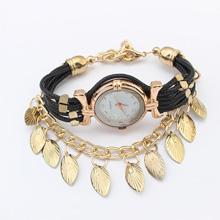 欧美时尚叶子手表(黑色)
