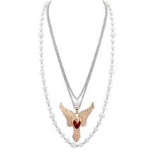 韩版多层珍珠老鹰毛衣链(红色)