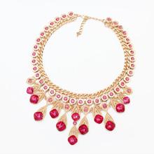 欧美时尚圆点项链(玫红)