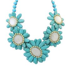 欧美风格米珠百搭风格时尚项链(蓝色)