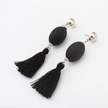 欧美时尚个性球球流苏耳环(黑色)