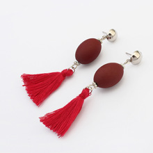 欧美时尚个性球球流苏耳环(深红)
