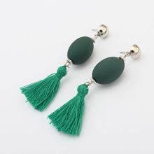 欧美时尚个性球球流苏耳环(豆绿)