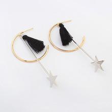 欧美简约流苏星星半圈耳环(黑色)