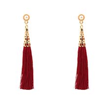 欧美时尚气质丝线流苏珍珠耳钉(红色)
