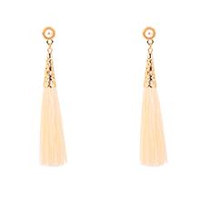 欧美时尚气质丝线流苏珍珠耳钉(米色)
