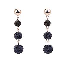 韩版时尚气质水晶球长款耳钉(黑色)