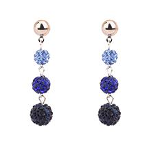韩版时尚气质水晶球长款耳钉(蓝色)