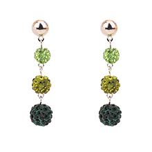 韩版时尚气质水晶球长款耳钉(绿色)