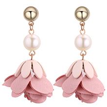欧美时尚百搭花朵珍珠金属圆耳钉(粉色)
