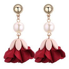 欧美时尚百搭花朵珍珠金属圆耳钉(红色)