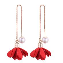 韩版时尚简约小清新气质珍珠花朵耳环(红色)