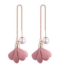 韩版时尚简约小清新气质珍珠花朵耳环(粉色)