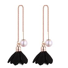 韩版时尚简约小清新气质珍珠花朵耳环(黑色)
