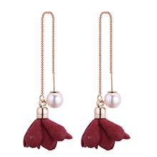 韩版时尚简约小清新气质珍珠花朵耳环(酒红)