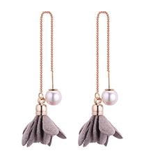 韩版时尚简约小清新气质珍珠花朵耳环(灰色)