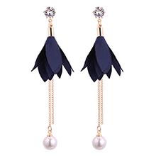 韩版时尚气质叶子珍珠流苏锆石耳钉(藏蓝)