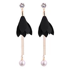韩版时尚气质叶子珍珠流苏锆石耳钉(黑色)