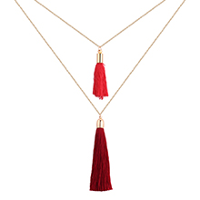 韩版时尚简约丝线毛线双层项链(红色)