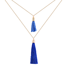 韩版时尚简约丝线毛线双层项链(蓝色)