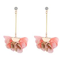 韩版简约气质花朵长款锆石耳钉(粉色)