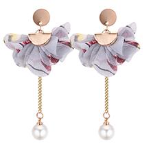 韩版个性优雅花朵珍珠长款耳钉(灰色)