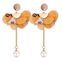 韩版个性优雅花朵珍珠长款耳钉(黄色)