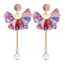 韩版个性优雅花朵珍珠长款耳钉(彩色)