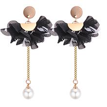 韩版个性优雅花朵珍珠长款耳钉(黑色)