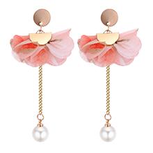 韩版个性优雅花朵珍珠长款耳钉(粉色)