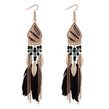 欧美时尚气质羽毛叶子流苏耳环(黑色)