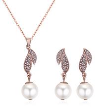 韩版时尚气质珍珠树叶项链套装
