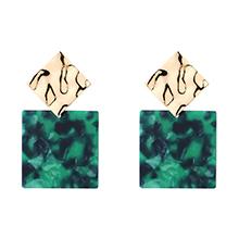 镀真金时尚正方形几何耳环(绿色)