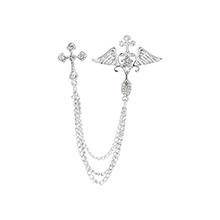 韩版时尚个性十字架胸针(白K)