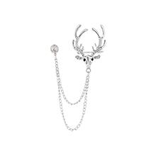 韩版时尚麋鹿头像胸针(白K)