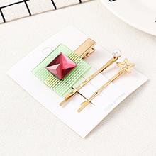 韩版简约清新方块海星发夹套装(红色)