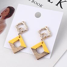 欧美时尚百搭冷淡风方形镂空耳环(黄色)