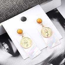 欧美百搭时尚气质头像耳环(黄色)