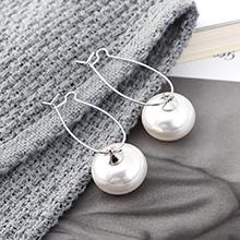 欧美镀真金时尚百搭小清新小灯笼耳环(白金+白色)