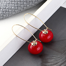 欧美镀真金时尚百搭小清新小灯笼耳环(14K金+红色)