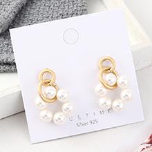 欧美时尚复古简约镀真金冷淡风小圈珍珠S925银针