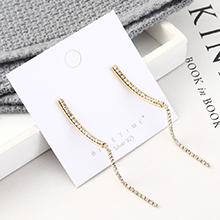 欧美时尚气质大牌镀真金冷淡风长款流苏月亮S925银针