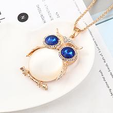 欧美时尚个性小清新百搭风猫头鹰项链(香槟金+白+蓝)