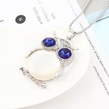 欧美时尚个性小清新百搭风猫头鹰项链(白金+白色)