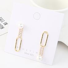 韩版创意夸张个性镀真金时尚百搭不对称珍珠S925银针
