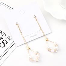 韩版大气时尚个性镀真金百搭气质创意流苏珍珠S925银针