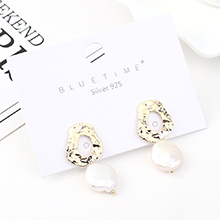 韩版时尚复古个性镀真金创意气质百搭小荷叶珍珠S925银针