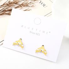 韩版简约小清新大气镀真金个性百搭小鱼尾巴S925银针(黄色)