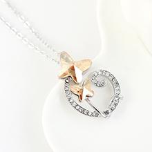 奥地利水晶项链--双飞蝶恋(白色)金色魅影